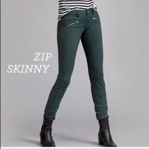 Cabi Jeans Size 10 Hunter Green Zip Skinny #3388